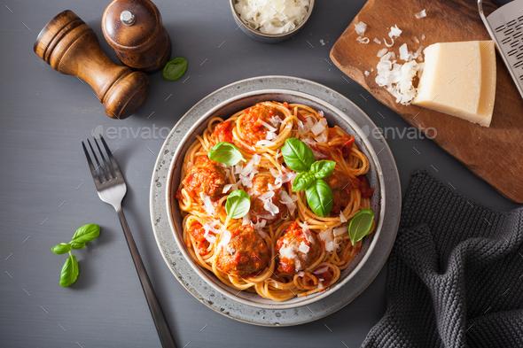 spaghetti with meatballs and tomato sauce, italian pasta - Stock Photo - Images