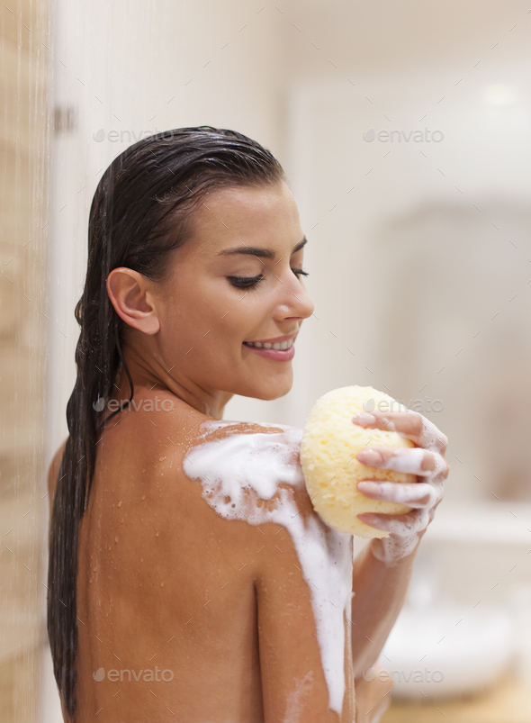 Pure pleasure of taking a shower - Stock Photo - Images