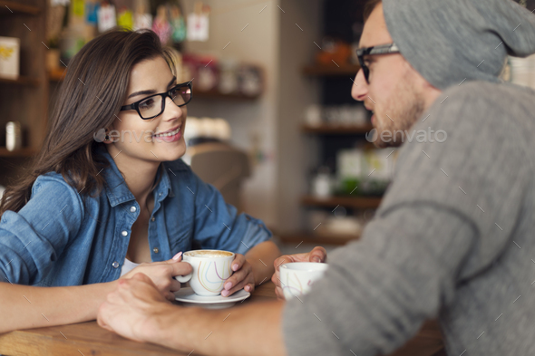 Loving couple on date at cafe - Stock Photo - Images