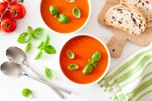 tomato soup flat lay on white backgorund - Stock Photo - Images