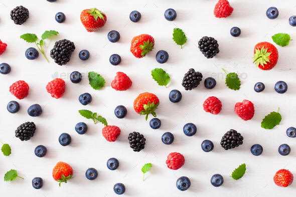 assorted berries over white background. blueberry, strawberry, r - Stock Photo - Images