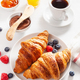 Continental breakfast with croissant, jam, chocolate spread and - PhotoDune Item for Sale