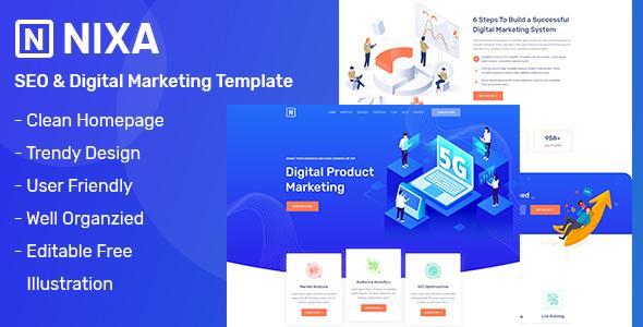 NIXA - SEO & Digital Marketing PSD Template
