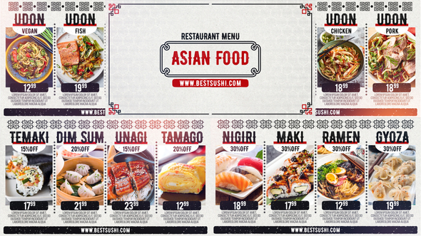 Asian Restaurant Menu Download Free