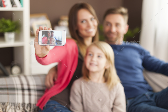 Let's take a selfie by mobile phone - Stock Photo - Images