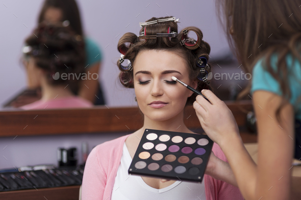 Preparation in hairdresser and makeup artist - Stock Photo - Images