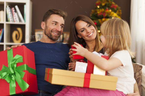 Time for opening christmas presents - Stock Photo - Images