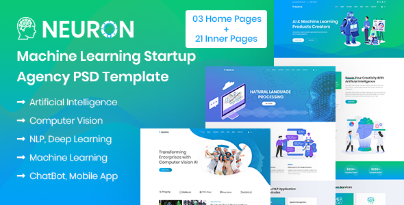 Neuron - Machine Learning & AI Startups PSD Template