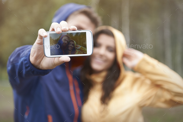 Selfie with my girlfriend in rainy day - Stock Photo - Images
