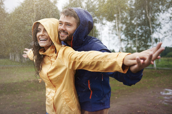 Feeling free in the rain - Stock Photo - Images