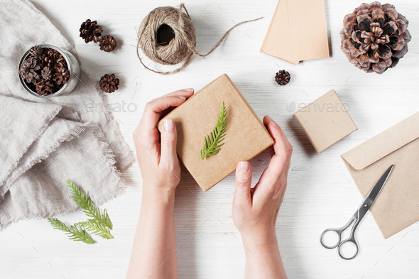 Female Hands Holding the Gift Box - Stock Photo - Images