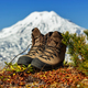 Old Trekking Boots Stand in Tundra Against Background of Beautiful Cone of Volcano - PhotoDune Item for Sale