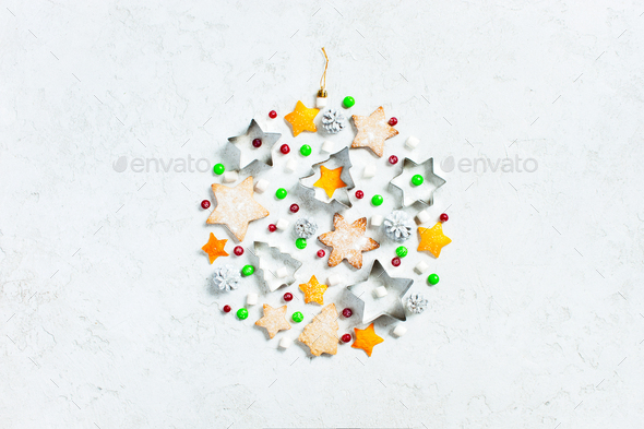 Christmas Ball of Sweets on White Textured Background - Stock Photo - Images