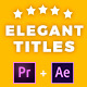 Elegant Titles After Effects - VideoHive Item for Sale