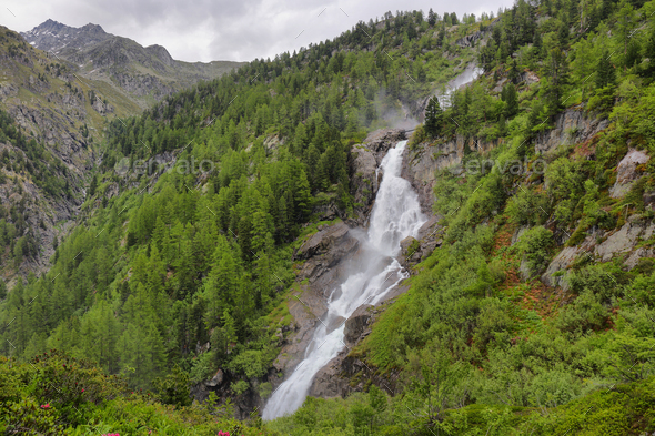 Rutor Waterfall in aosta Valley, Italy - Stock Photo - Images