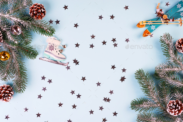 Christmas frame-postcard from decorative Christmas toys, fir, cones, balls, golden stars, sledge - Stock Photo - Images
