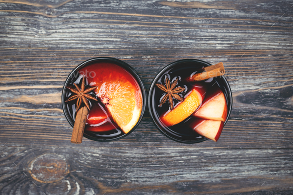 Two Glasses of Mulled Wine on Wooden Table. - Stock Photo - Images