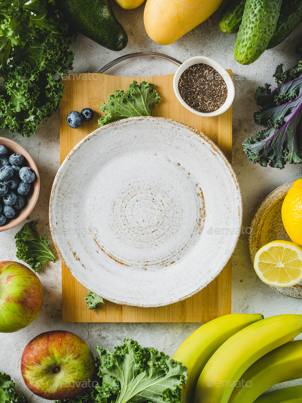 Green vegetables and ripe fruit for smoothies - Stock Photo - Images