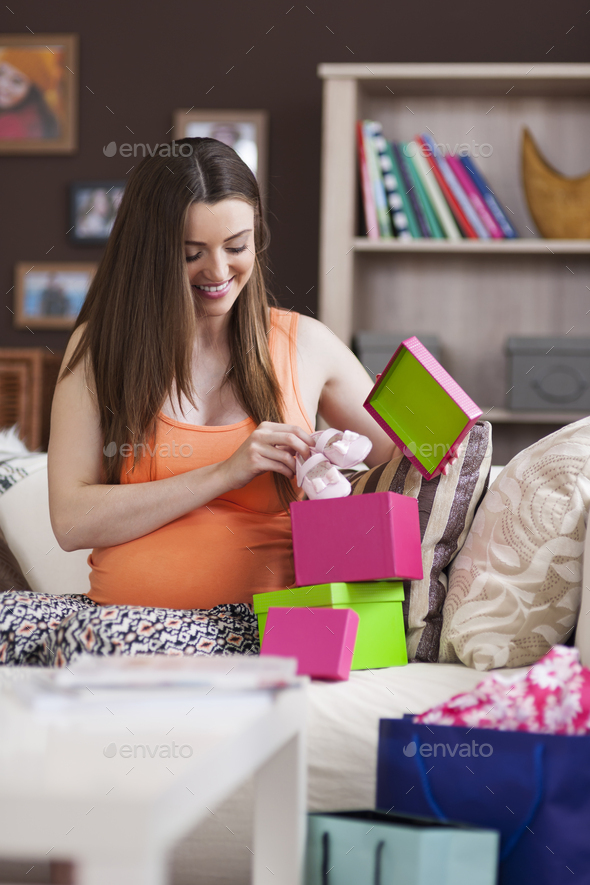 Beautiful woman preparing for the birth of baby - Stock Photo - Images