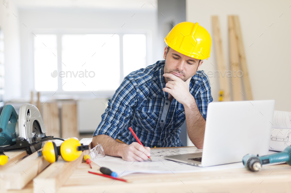 Focus construction worker on construction site - Stock Photo - Images