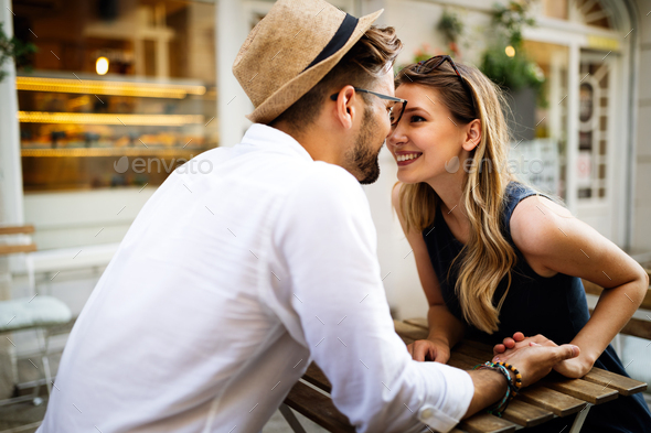 Happy romantic couple in love having fun outdoor in summer day - Stock Photo - Images