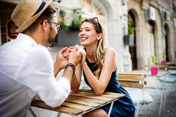 Romantic beauty portrait of happy hipster couple in love hugs and having fun - Stock Photo - Images