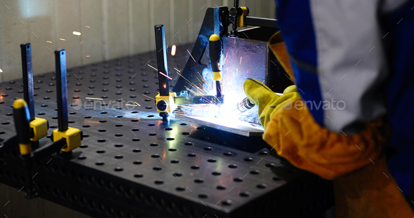 Metal cutting with acetylene torch in factory - Stock Photo - Images