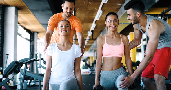 Group of people training in gym - Stock Photo - Images