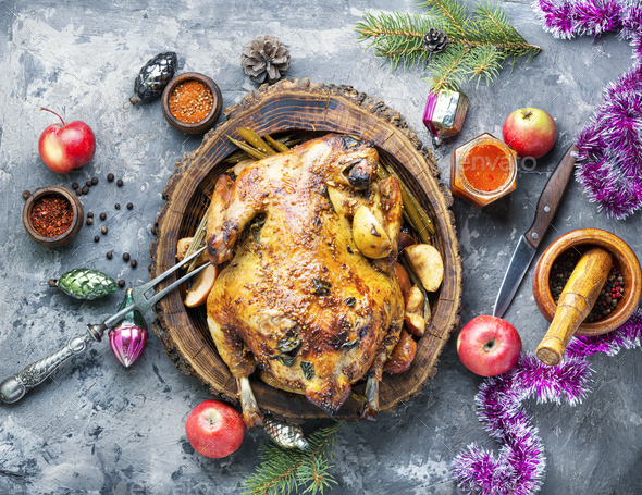 Baked meat for Christmas. - Stock Photo - Images