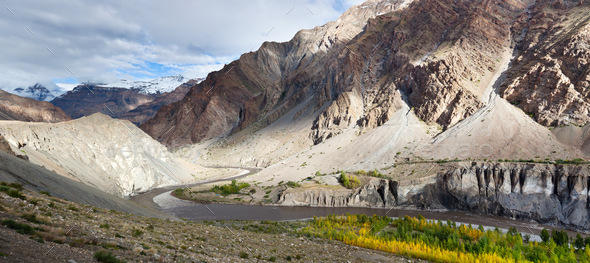 Panorama of Spiti valley in autumn, Himachal Pradesh, India - Stock Photo - Images