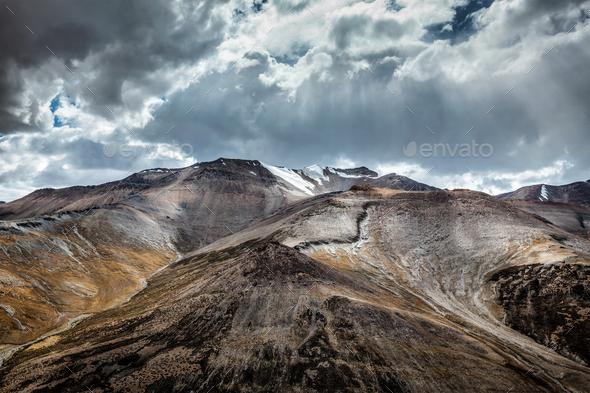 View of Himalayas near Tanglang la Pass, Ladakh - Stock Photo - Images