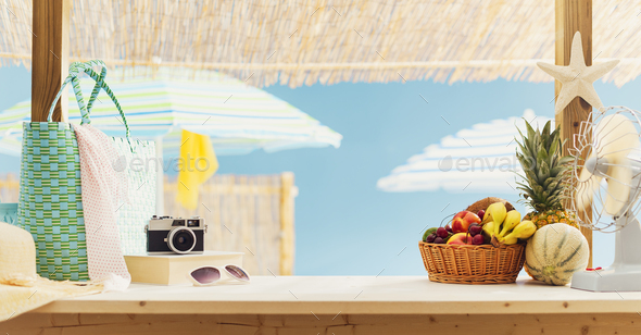 Kiosk with fresh delicious fruit at the beach - Stock Photo - Images