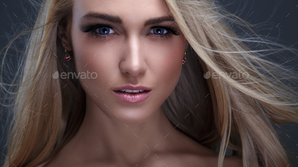 Blonde with Flying Hair - Stock Photo - Images