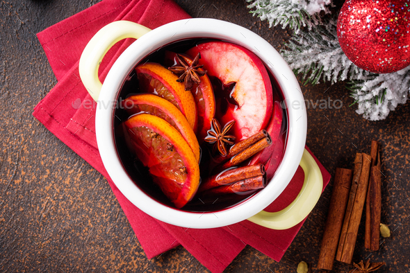 Cooking Christmas hot mulled wine - Stock Photo - Images