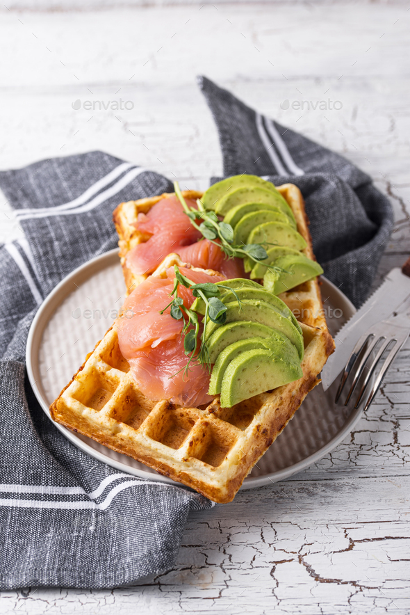 Keto cheese waffle with avocado - Stock Photo - Images