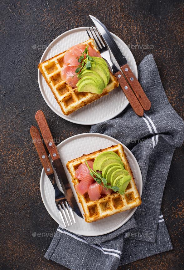 Keto cheese waffle with avocado - Stock Photo - Images