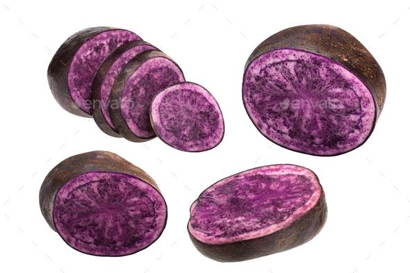 Sliced purple potato s. tuberosum, paths - Stock Photo - Images