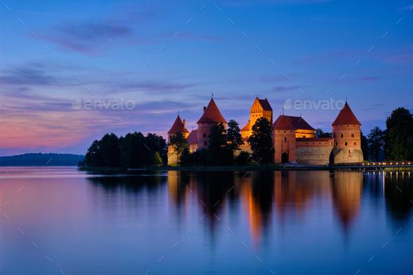 Trakai Island Castle in lake Galve, Lithuania - Stock Photo - Images