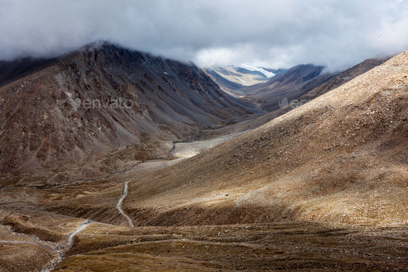 Himalayan landscape with road - Stock Photo - Images