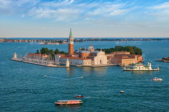 Aerial view of Venice lagoon with boats and San Giorgio di Maggiore church. Venice, Italy - Stock Photo - Images