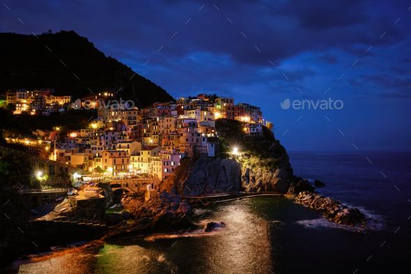 Manarola village in the night, Cinque Terre, Liguria, Italy - Stock Photo - Images