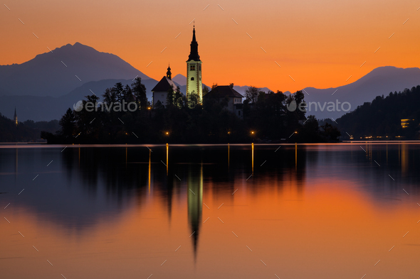 Sunrise on Bled Lake with Pilgrimage Church, Bled, Slovenia, Europe - Stock Photo - Images