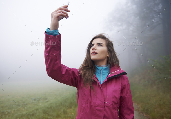 Searching connection for mobilephone in forest - Stock Photo - Images