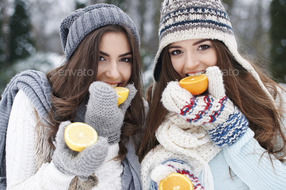Eating natural vitamins in winter strengthens our resistance - Stock Photo - Images