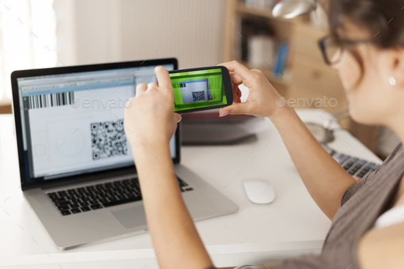 Paying bills by scanning qr code is faster and easier - Stock Photo - Images