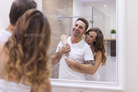 Daily caring about our hygiene in bathroom - Stock Photo - Images