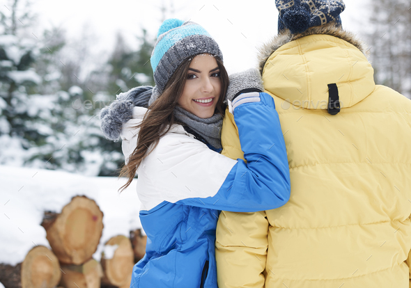 I met my first love in winter time - Stock Photo - Images