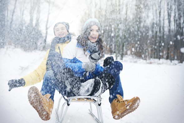 Crazy sledding during the winter - Stock Photo - Images