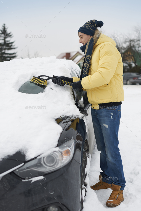 After big blizzard, car needs to clean from snow - Stock Photo - Images