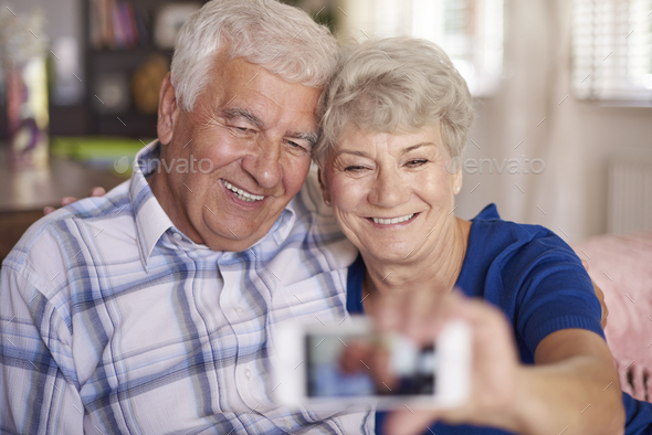 You are never too old to take a selfie - Stock Photo - Images